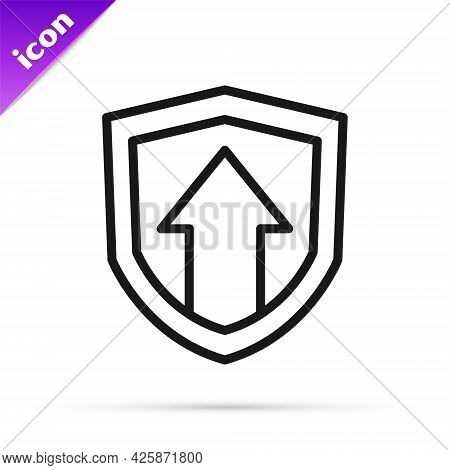Black Line Financial Growth Increase Icon Isolated On White Background. Increasing Revenue. Vector