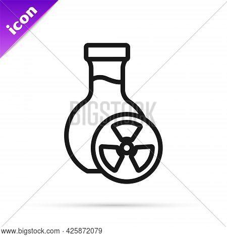 Black Line Laboratory Chemical Beaker With Toxic Liquid Icon Isolated On White Background. Biohazard
