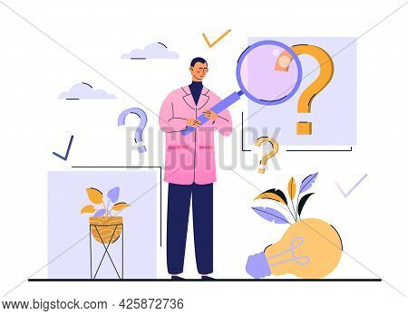 Frequently Asked Questions Concept. A Man Holds A Magnifying Glass In His Hands And Looks For Answer