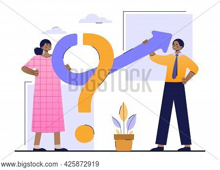 The Concept Of Cooperation To Solve Problems And Issues. A Woman And A Man Help Each Other Turn A Qu