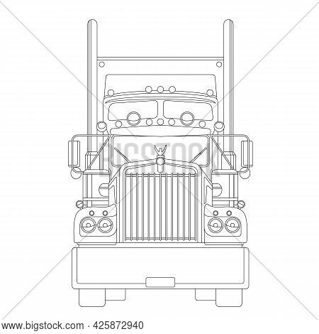Semi Truck, Front View, Flat Style, Usa Truck, Lining Draw