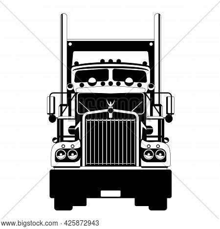 Semi Truck, Front View, Flat Style,black Silhouette