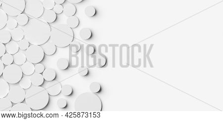 Random Shifted White Circle Or Cylinder Background Wallpaper Banner Pattern With Copy Space, 3d Illu