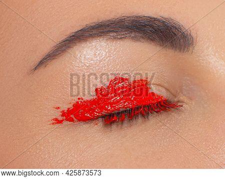 Close Eye With Colorful Eyeshadow. Macro Shot Of Opened Human Female Eye. Woman With Evening Beauty