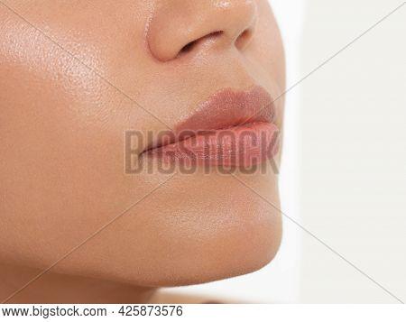 Perfect Natural Lip Makeup. Close Up Macro Photo With Beautiful Female Mouth. Plump Full Lips. Close