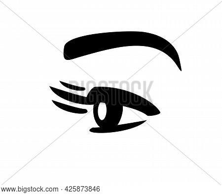 Eyelashes And Eye Logo. Eyebrow Tattoo. Sight