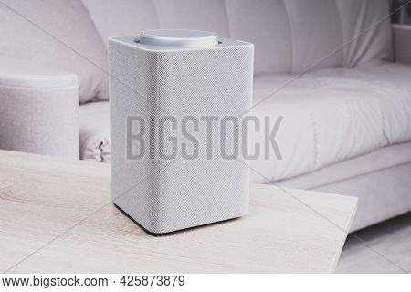 Electronic Equipment Smart Speaker On The Table In The Room And Houseplant