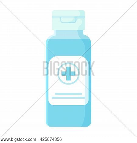 Antibacterial Antiseptic In Blue Bottle. Covid-19 Sanitary, Medcine Sanitizer, Hand Disinfectant Con