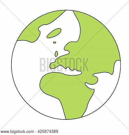 Simplified Outline Earth Globe With Map Of World Focused On Europe. Vector Illustration.