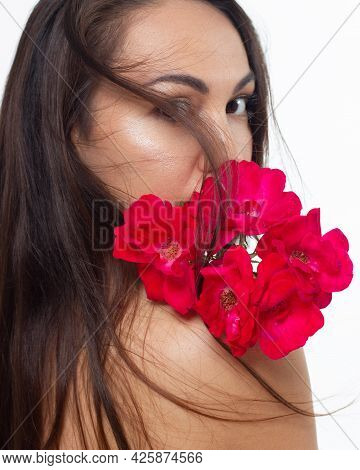 Closeup Portrait Of A Woman With Developing Straight Hair. Sweet Tender Young Girl, Brunette. Natura
