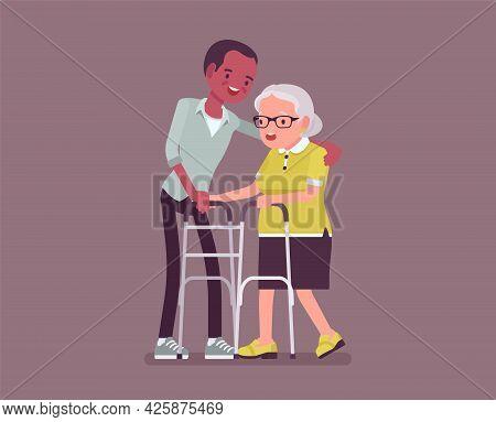 Senior People Social Support, Older Adult Care And Rehabilitation. Male Volunteer Nursing Walker Old