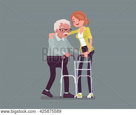Senior People Social Support, Older Adult Care And Rehabilitation. Female Volunteer Nursing Walker O