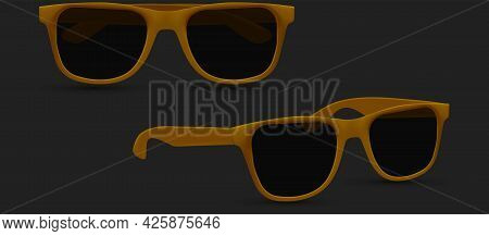 Sunglasses Model, Brown Sunglass, Mens Glasses Silhouette And Retro Eyewear Mockup. Isolated On Whit