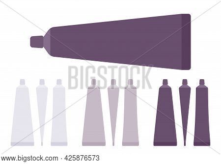 Plastic Cosmetic Tube, Toothpaste Bottle Empty White, Grey, Black Set. Small Cap Makeup Cream Storag