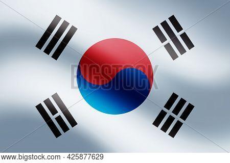 South Korean Waving Flag. Official Flag Form Of South Korean Country. Eps10 Vector Illustration.