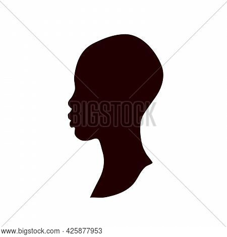 Silhouette Of A Female Head. Vector Illustration In Flat Style