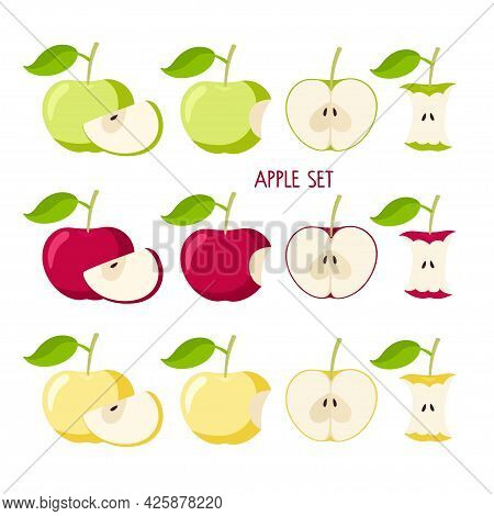 Apple Set. Flat Icon Red, Yellow, Green Apple Fruit With Leaf. Whole, Bitten, Cut, Core. Farmer Mark