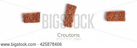 Croutons Isolated On White Background. Rye Croutons Isolated. Salty Croutons.