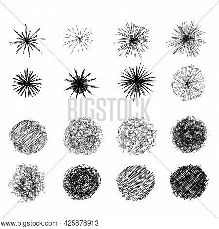 Ink Pen Round Scrawl Collection - Various Round Shapes Of Hand Drawn Scribble Line Drawings.
