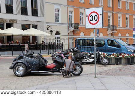 Warsaw - Poland. 27 July 2019: Stylish Transportation Outdoors. Biker Motorcyclist. Cool Transport.