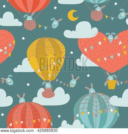 Seamless Pattern With Cute Bunny In Hot Air Balloon. Childish Animal On The Starry Fantatic Sky With