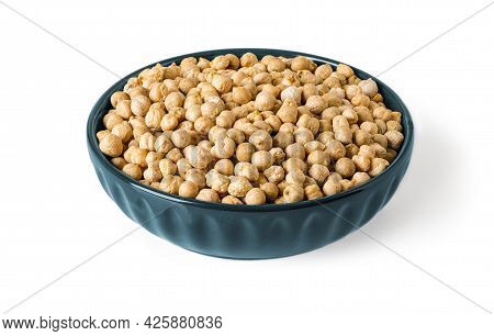 Dry Chickpea Beans In A Blue Ceramic Bowl Isolated On White Background. Raw Ingredient Of Vegetarian