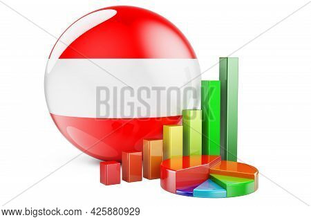 Austrian Flag With Growth Bar Graph And Pie Chart. Business, Finance, Economic Statistics In Austria