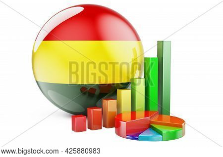 Bolivian Flag With Growth Bar Graph And Pie Chart. Business, Finance, Economic Statistics In Bolivia