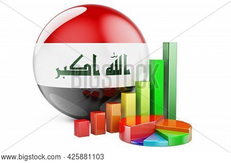 Iraqi Flag With Growth Bar Graph And Pie Chart. Business, Finance, Economic Statistics In Iraq Conce
