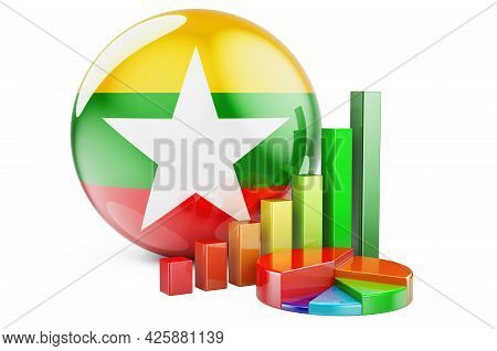 Myanmar Flag With Growth Bar Graph And Pie Chart. Business, Finance, Economic Statistics In Myanmar