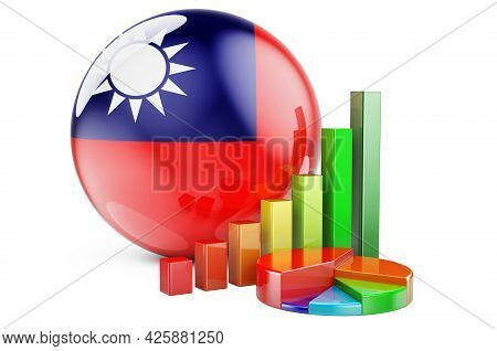 Taiwanese Flag With Growth Bar Graph And Pie Chart. Business, Finance, Economic Statistics In Taiwan