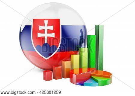Slovak Flag With Growth Bar Graph And Pie Chart. Business, Finance, Economic Statistics In Slovakia