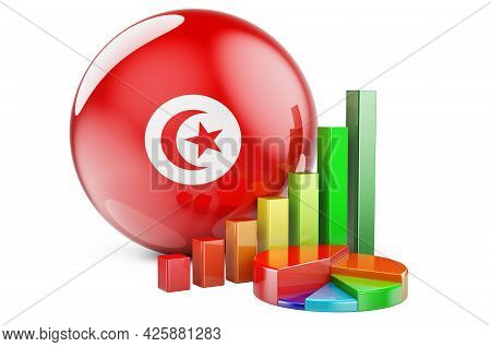 Tunisian Flag With Growth Bar Graph And Pie Chart. Business, Finance, Economic Statistics In Tunisia