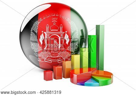 Afghan Flag With Growth Bar Graph And Pie Chart. Business, Finance, Economic Statistics In Afghanist