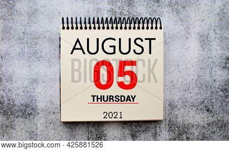 Save The Date Written On A Calendar - August 05
