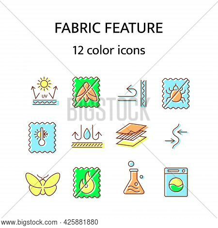 Fabric Feature Flat Icon. Material Quality. Easy Care, Sun Protection. Windproof, Fireproof Fiber In