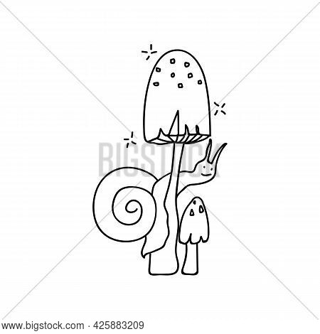 Hand Drawn Snail Climbs On A Mushroom. Doodle Vector Illustration. Isolate On A White Background. Go