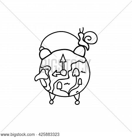 Hand Drawn Old Alarm Clock Overgrown With Moss And Mushrooms. Doodle Vector Illustration. Isolated O