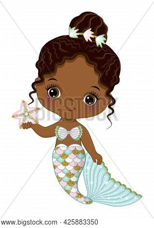 Cute Black Baby Mermaid With Glitter Turquoise And Pink Fishtail Holding Starfish. Afro Mermaid With
