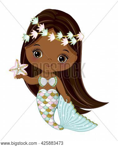 Cute Black Baby Mermaid With Glitter Turquoise And Pink Fishtail Holding Starfish. Afro Mermaid Is W