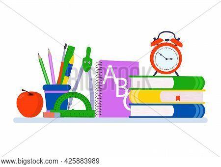 School Supplies Design. Books, Chancellaria, Copybook, Globe. Vector Fleet Illustration.