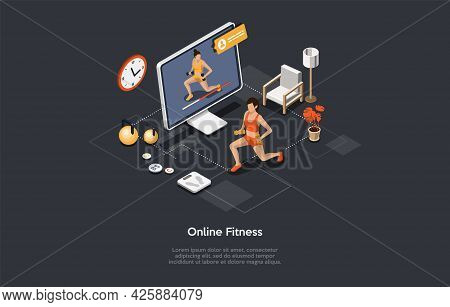 Online Fitness And Gymnastics, Video Sport Training Strategy, Remote Lesson With Personal Trainer Co