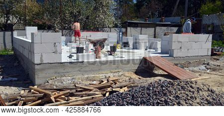 Building house with aerated concrete brick walls. May 16,2021. Kiev Region,Ukraine