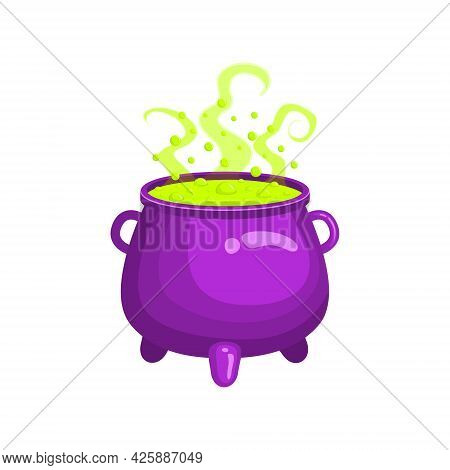 Witch Cauldron With Green Steaming And Bubbling Liquid Isolated On White Background. Magic Potion. W