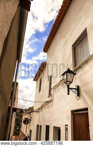 Narrow Streets And Old Facades In Jorquera Village, Castilla La Mancha Community, Spain