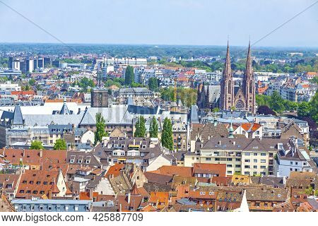 Skyline Panoramic Aerial View Of Strasbourg Old Town, Grand Est Region, France. Strasbourg Cathedral