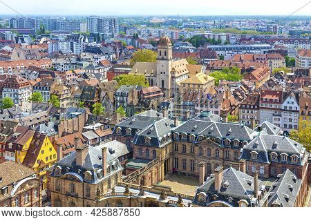 Skyline Panoramic Aerial View Of Strasbourg Old Town, Grand Est Region, France. View To Rohan Palace