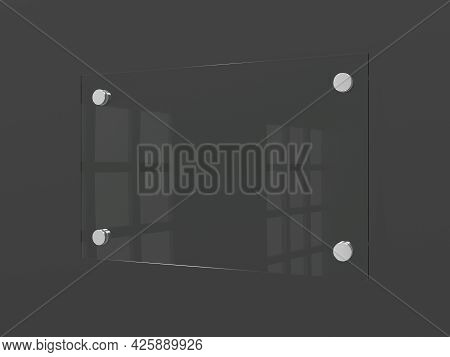 Blank Glass Nameplate Isolated On Dark Gray Wall.  Signage Plate. Empty. 3d Illustration.