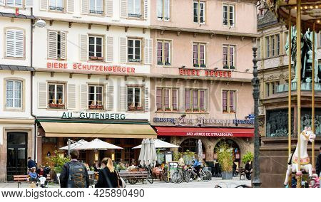Strasbourg, France - May 19, 2021: People Eating Outside In Place Gutenberg As Bars And Restaurants
