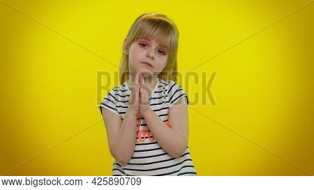 Please, God, Forgive And Help Me. Child Girl 5-6 Years Old Sincerely Praying To God And Looking Up W